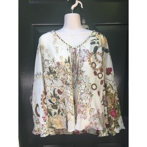 ✨ NWT Gorgeous Floral Silk Beaded Cape Blouse